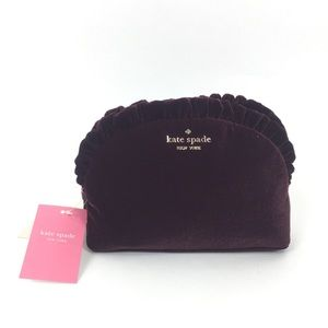 Kate Spade Velvet Ruffle Medium Cosmetic Bag
